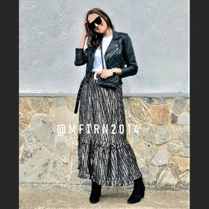 ZARA Maxi Skirt with Flounced Hem